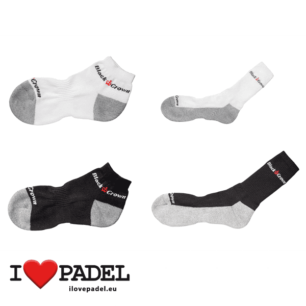 I Love Padel Black Crown socks long and short for Padel, in black and white. Calcetines para padel, largos y cortos en negro y blanco