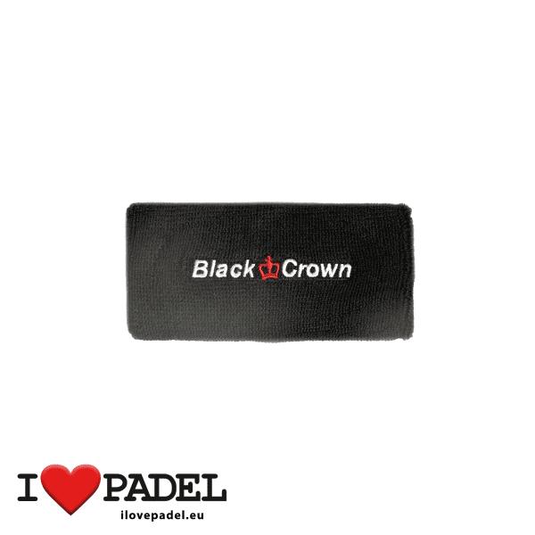 I Love Padel Black Crown wrist sweatband for Padel in black and white. Muñequeros para padel en negro y blanco 02