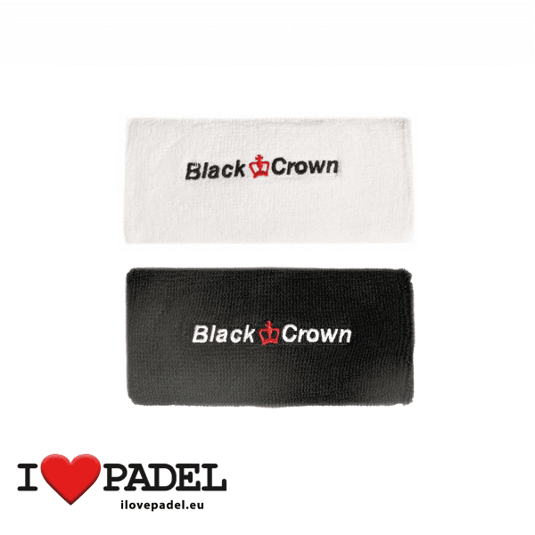 I Love Padel Black Crown wrist sweatband for Padel in black and white. Muñequeros para padel en negro y blanco group