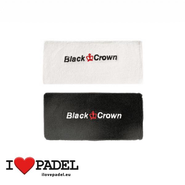 I Love Padel Black Crown wrist sweatband for Padel in black and white. Muñequeros para padel en negro y blanco group