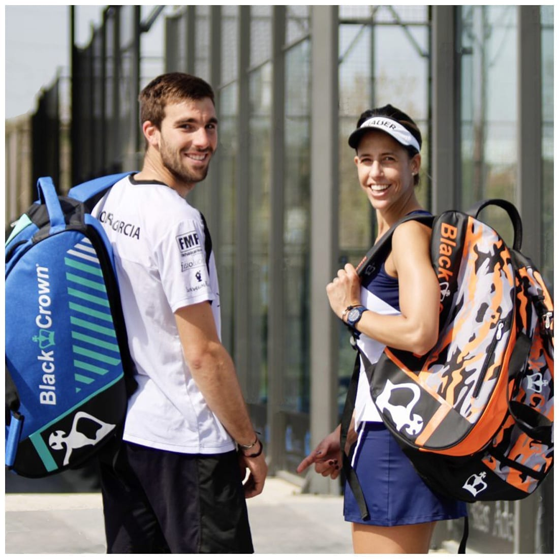 Marta Marrero and Aitor Garcia, World Padel Tour Players (WPT) for Black Crown and backpack and Padel rackets sold by I Love Padel,