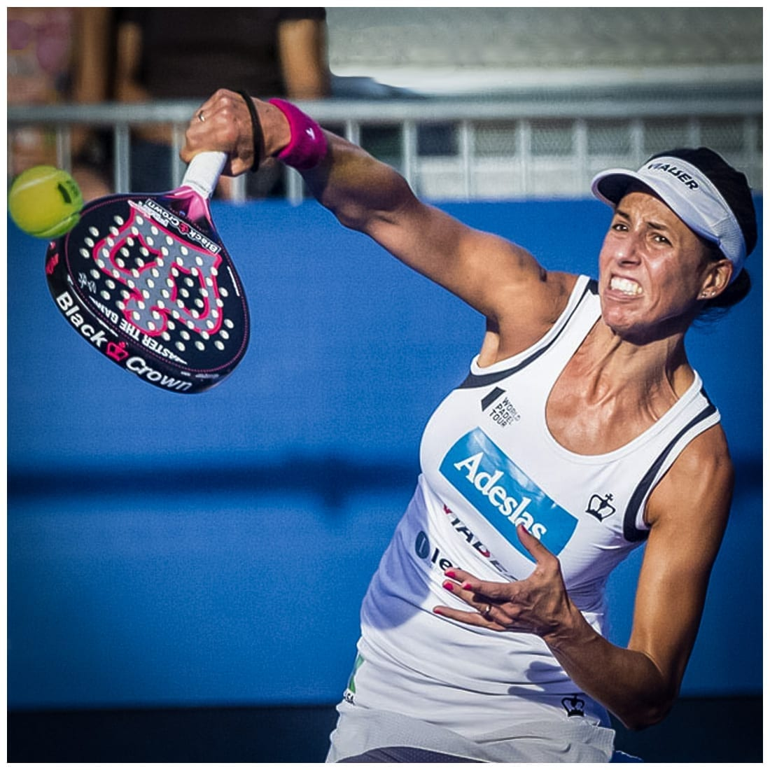 Marta Marrero, World Padel Tour Player (WPT) in action playing with Black Crown Padel Racket
